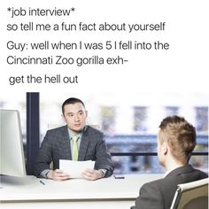 Job interview with the Harambe kid when he grows up. SENSATIONAL!!!!