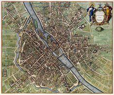 Old, antique map of Paris by Janssonius J. Vintage Maps, Antique Maps, Plan Paris, France Map, Paris Map, Old Maps, City Maps, Historical Maps, Plans
