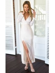 European Ladies Sexy Deep V-Neck Side Split Package Hip Lace Patchwork Knitted White Maxi Dress