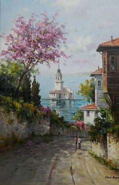 pastel istanbul manzaraları ile ilgili görsel sonucu
