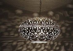 Unique Moroccan Silver Plated Brass Hanging Lamp Light Pendant    eBay