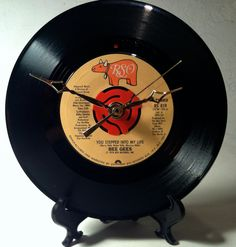 """Recycled BEE GEES 7"""" Record / You Stepped Into My Life / Record Clock"""