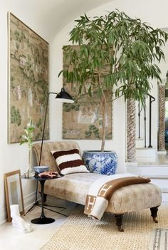It's always best to add something living into a room - a tree that stand in a pot and place on the floor usually works best.