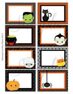 Halloween Blank Notes Vol 6 PRINTABLE Lunch Box Note Lunchbox Encouragement 9 Blank Designs School Kids INSTANT DOWNLOAD Digital File