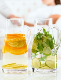"""Okay, it's not exactly a food, but sipping water ensures you don't mistake thirst for hunger, says registered dietitian Keri Gans, author of The Small Change Diet. """"Water fills you up so that you eat less."""" And drinking it cold may even help speed up your resting metabolism a tiny bit—say, by about 50 calories a day if you sip six cold cups—according to a study published in The Journal of Clinical Endocrinology and Metabolism. Make it feel fancier by adding seasonal fruits like watermelon…"""