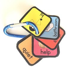 Students with Autism have difficulty with expressive and receptive language. Visuals can help them to better understand and communicate wants and needs. You can carry these visual directions with you on your lanyard or on your belt loop for easy access to visuals even when you are out of the classroom. You can use the visuals discretely in the inclusion setting as well. This product contains 15 visuals for teachers and aides to wear all day long!