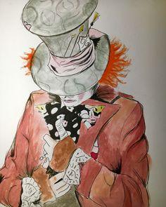 Mad Hatter watercolor study from Alice Through the Looking Glass/Alice in Wonderland Artist: Katie Ellen