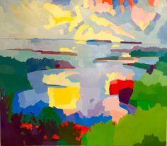 "A Big Painting, 70 x 80"". View from Mt Battie, Camden, Maine. www.henryisaacs.com"