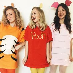 Group Halloween Costume Ideas Perfect for Your Sorority Sist.- Group Halloween Costume Ideas Perfect for Your Sorority Sisters Winnie the Pooh and Friends - Halloween Diy Kostüm, Best Group Halloween Costumes, Cute Costumes, T Shirt Costumes, Couple Halloween, Simple Costumes, Cartoon Costumes, Costumes For 3 People, Costume Ideas For Groups