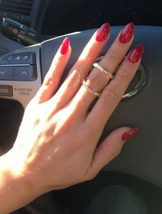 Hollywood Nails - Sun Valley, CA, United States. Beautiful Red Almond Acrylics by
