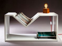 laquered plywood side table newspaper rack by nordarchitectdesign, $195.00