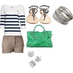 Nautical Look - Polyvore Love the shorts and jeweled sandals