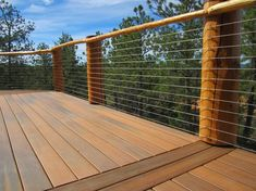 Best Cabin Deck Railing Ideas Log Look Using Cable 400 x 300