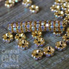 8 mm Gold Brass AB Czech Crystal Rhinestone Rondelle Spacers 50 pcs - Wavy Edge - Aurora Borealis