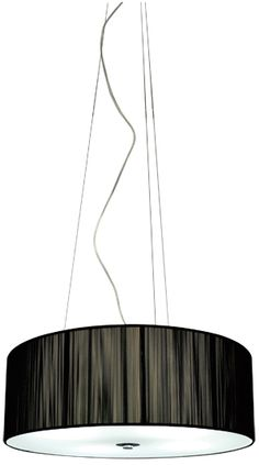 Contemporary black string drum shaped pendant with a frosted glass diffuser. The lunette has a clear flex cord, 3 stainless steel support wires and a chrome canopy. Compact fluorescent bulbs are ideal for this pendant. Hanging Lights, String Lights, Ceiling Lights, Light String, Pendant Lamp, Pendant Lighting, Temple Of Light, Compact Fluorescent Bulbs, Glass Diffuser