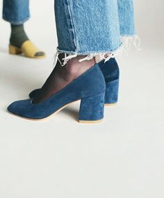 Suede block heels, sheer tights, and frayed cropped jeans