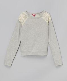 Light Heather Gray & Vanilla Stick Lace Pullover - Girls | zulily