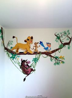 wall painting for baby room wall painting for baby room Lion King Room, Lion King Nursery, Lion King Baby, Disney Baby Rooms, Disney Bedrooms, Disney Nursery, Disney Playroom, Baby Room Diy, Baby Boy Rooms