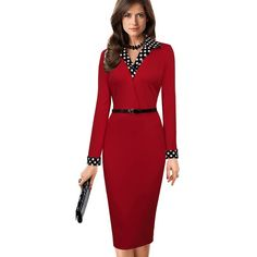 5b7184a72f4b Women Elegant Vintage Autumn Polka Dot Turn Down Collar Belted Wear To Work  Office Casual Long Sleeve Sheath Pencil Dress