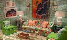 lilly pulitzer fabrics blue green wall chair orange pink pattern