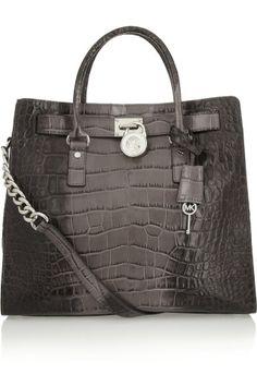 MICHAEL Michael Kors|Hamilton large croc-effect leather tote|NET-A-PORTER.COM