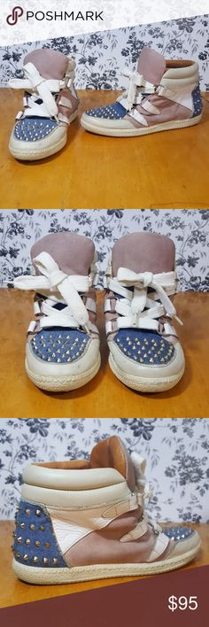 Sandro High Top Leather and Jean Studded Sneakers Very cute white leather pink suade studded jeans. Sandro Shoes Sneakers