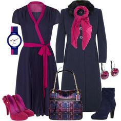 """""""Fuschia and Navy"""" by featherlynne on Polyvore"""