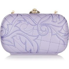 Versace Embroidered leather box clutch ($1,033) ❤ liked on Polyvore featuring bags, handbags, clutches, purses, accessories, bolsas, women, versace handbags, leather hand bags and purple handbag