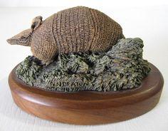 Vtg Deaton Wildlife #Armadillo Figurine Audubon Bronzes Hamilton Sculpture Wood #deaton