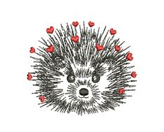 Embroidery Files, Machine Embroidery Designs, Embroidery Patterns, Flower Outline, Heart Outline, Valentines Watercolor, New Year Designs, Cute Hedgehog, Valentine Day Gifts