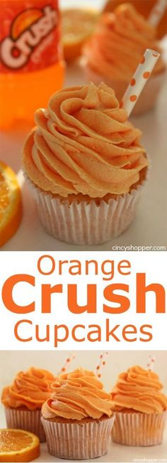 Crush Cupcakes These Orange Crush Cupcakes have a pop of yummy Orange flavor. Perfect for a summertime dessert.These Orange Crush Cupcakes have a pop of yummy Orange flavor. Perfect for a summertime dessert. Just Desserts, Delicious Desserts, Dessert Recipes, Yummy Food, Yummy Recipes, Healthy Cupcake Recipes, Oreo Desserts, Food Cakes, Cupcake Cakes