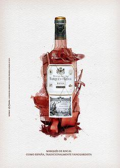 Marqués de Riscal on Illustration Served Wine Design, Bottle Design, Design Art, Wine Advertising, Creative Advertising, Advertising Campaign, Wine Packaging, Packaging Design, Clever Packaging