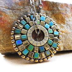 Etsy Little Rock vendor at the Main Street Festival-Little Rock October 6! Beaded Pendant Necklace  Brass and Teal by BijouBooth on Etsy