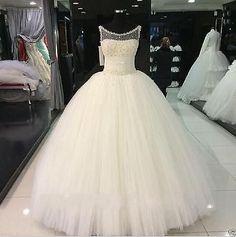beaded Tulle White/Ivory wedding dress Bridal Gown Custom plus size 6/8/10/12++