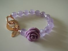 silver bracelet with amethist stones and resin rose, more colors available