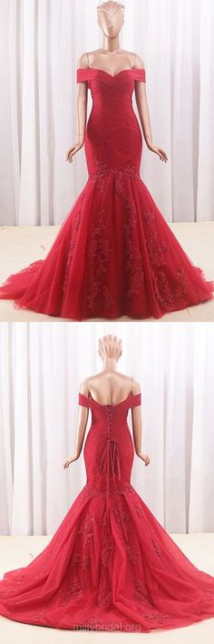 Mermaid Prom Dresses Off-the-shoulder, Red Prom Dresses Lace, Long Formal Prom Dresses 2018