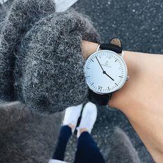 Grey - White - Black - REPEAT ! Perfect look by @mija_mija wearing her Silver Black Leather Kapten watch! | kapten-son.com