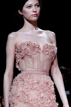 Elie Saab Haute Couture Spring 2011: rose bodice detail  #gown #dress #fashion #dream #fairy