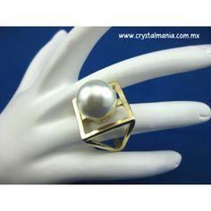 Anillo dorado perla estilo 70043