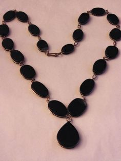 Vintage Dark Blue Agate Stone Oval Disk Link Style Gold Tone Necklace