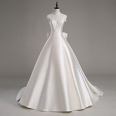 Lanting+Bride+A-line+Wedding+Dress-Cathedral+Train+High+Neck+Satin+/+Tulle+–+USD+$+199.99