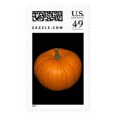#photo - #Pumpkin Photo on Black Background Postage