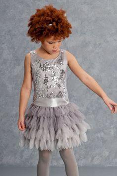 Biscotti Sequin Girls Dress in Silver PREORDER
