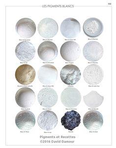 Les pigments Blancs du livre Pigments et Recettes Les secrets du métier de l'artiste peintre du XXIe disponible sur https://pigmentsrecettes.com