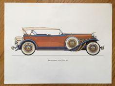 DUSENBERG 1929  antique classic car print   por antiqueprintstore
