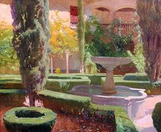LUIS BERTODANO Spanish, active 1890s  Patio de Lindaraja, Alhambra (Granada)  Signed Luis Bertodano; also signed, numbered and titled on the stretcher Oil on canvas 25 x 30 inches (63.5 x 76.2 cm) Framed: 32½ x 37¾ inches (82.5 x 96 cm)