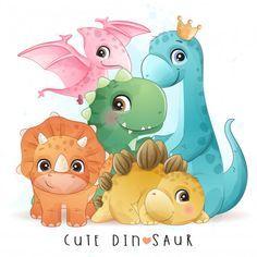 Dinosaur Illustration, Watercolor Illustration, Butterfly Illustration, Dinosaur Birthday Invitations, Dinosaur Birthday Party, Cute Dinosaur, Dinosaur Play, Dinosaur Drawing, Baby Dinosaurs