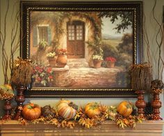 Tuscan Decorating Pictures Design Ideas, Pictures, Remodel, and Decor Tuscan Style Homes, Tuscan House, Tuscan Home Decorating, Fall Decorating, Style Toscan, Tuscany Decor, Fall Leaf Garland, Home Decoracion, Tuscan Design