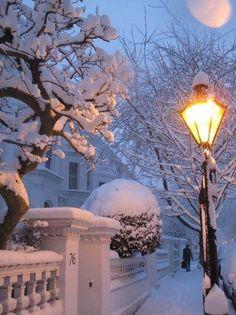 Snowy night in London, England