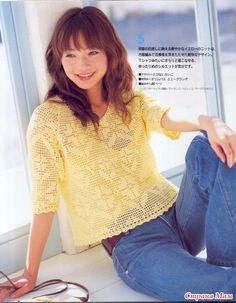 Japanese Filet Crochet Women Blouse Sweat Top by DotsStripes Crochet Girls, Crochet Woman, Love Crochet, Crochet Lace, Filet Crochet Charts, Crochet Cardigan, Thread Crochet, Blouse Patterns, Crochet Clothes